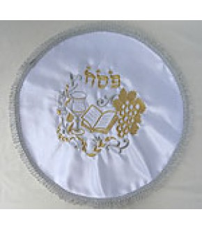WHITE SATIN SILVER METALLIC LOOPED ROUND SEDER COVER W/HAGGADAH, KIDDUSH CUP DESIGN