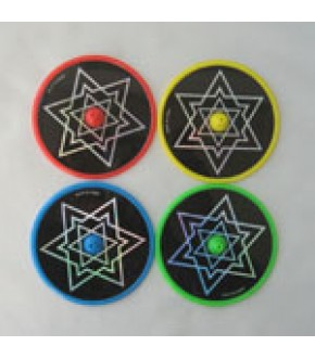 SET OF 4 ASSORTED PLASTIC STAR LASER DISK DREIDELS