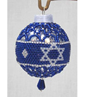 BAND W SOD BLUE NETTING GLASS BEADED ORNAMENT