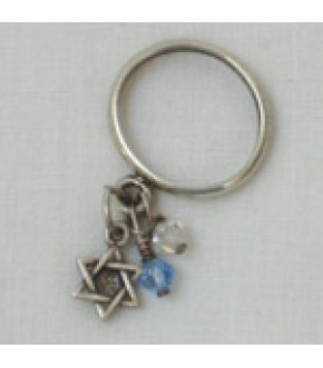 PETITE STERLING SILVER STAR AND CRYSTAL DANGLE RING