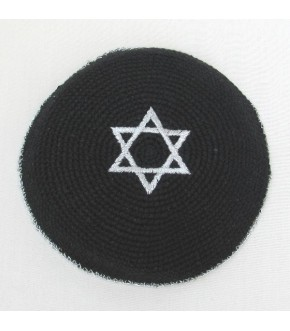 BLACK KNIT SILVER STAR KIPPAH