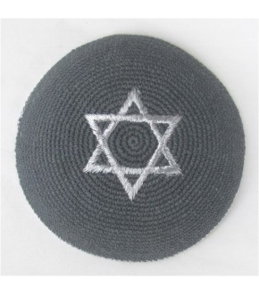 GREY W SILVER STAR AND TRIM KIPPAH