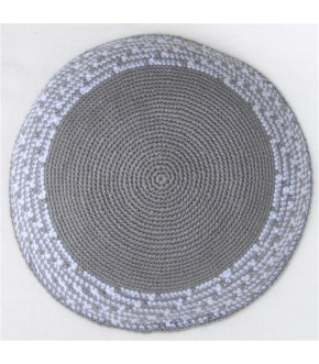 GREY WHITE TRIM ON GREY KIPPAH