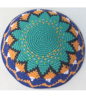 BRIGHT SEAFOAM CENTER, MELON, PURPLE ACCENTED DMC KNIT KIPPAH