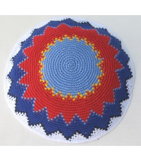 LIGHT BLUE/RED/PURPLE ZIG ZAG KNIT KIPPAH