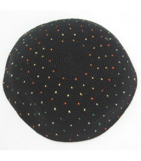 DMC BLACK KNITTED KIPPAH W/ MULTI COLOR FLECK