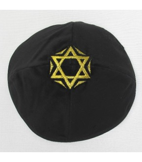 BLACK VELVET WITH GOLD STAR EMBROIDERED IN CROWN