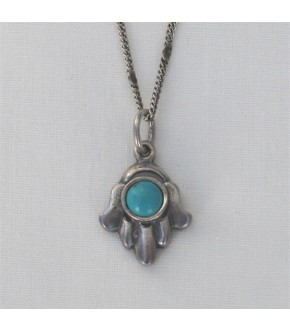 STERLING HAMSA WITH EILAT STONE CENTER NECKLACE