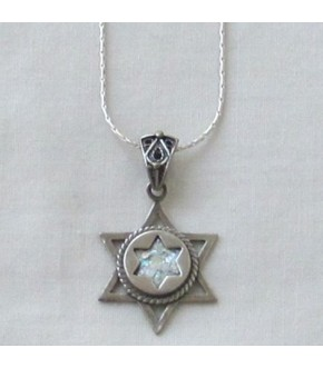 STERLING SILVER & ROMAN GLASS STAR WITHIN STAR NECKLACE