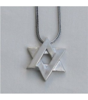 STERLING SILVER INTERLOCKED STAR OF DAVID NECKLACE