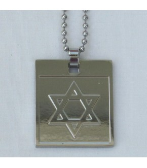 SQUARE DISK W STAR OF DAVID STAINLESS STEEL NECKLACE