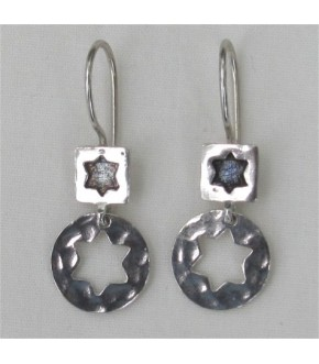 POSITIVE/NEGATIVE STAR OF DAVID STERLING SILVER EARRINGS